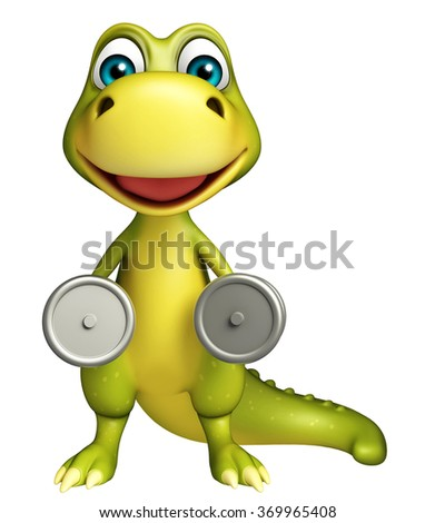 3d rendered illustration of Dinosaur cartoon character with Gim equipment