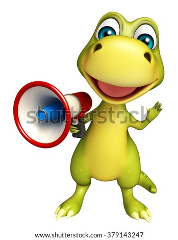 3d rendered illustration of Dinosaur cartoon character with loudspeaker