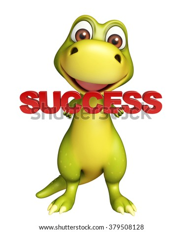 3d rendered illustration of Dinosaur cartoon character with success sign