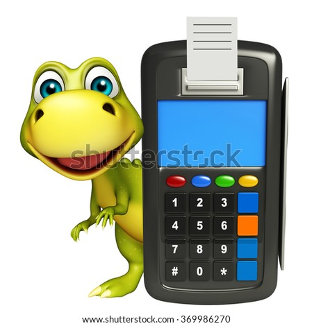 3d rendered illustration of Dinosaur cartoon character with swap machine