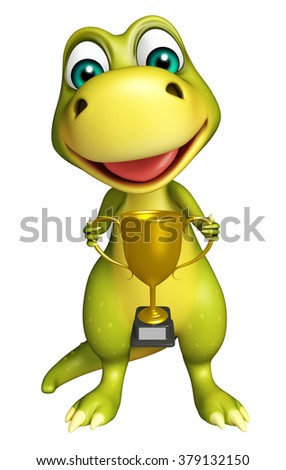 3d rendered illustration of Dinosaur cartoon character with winning cup