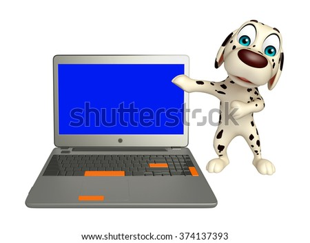3d rendered illustration of Dog cartoon character  with laptop