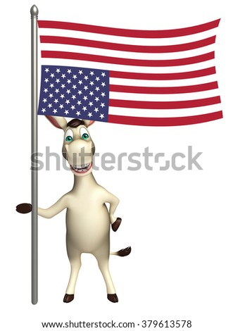 3d rendered illustration of Donkey cartoon character with flag