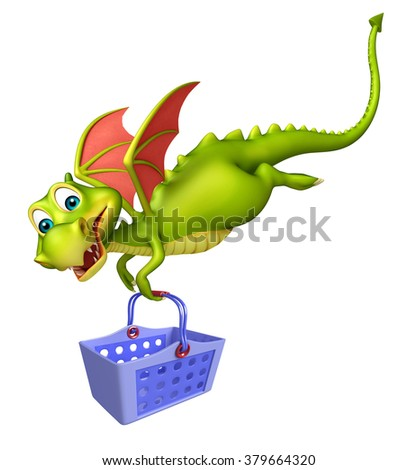 3d rendered illustration of Dragon cartoon character with basket