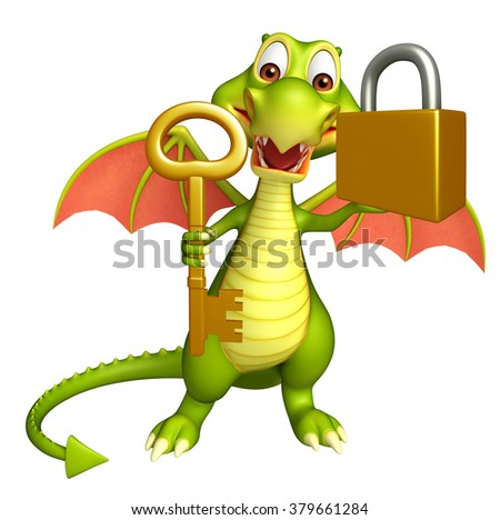 3d rendered illustration of Dragon cartoon character with key and lock - stock photo