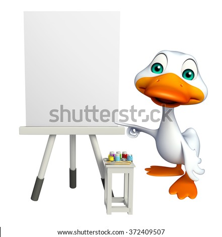 3d rendered illustration of Duck cartoon character with canvas board sign