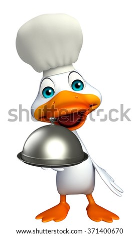 3d rendered illustration of Duck cartoon character with chef hat and cloche