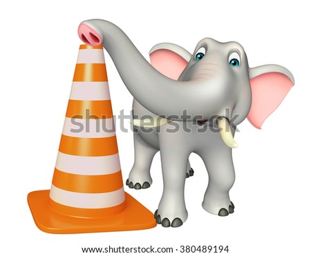 3d rendered illustration of Elephant cartoon character with construction cone - stock photo