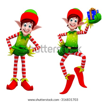 3d rendered illustration of elves with gift box