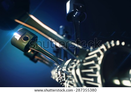 3d rendered illustration of engine pistons and cog wheels with depth of field effect