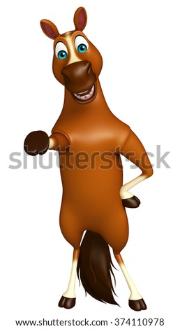 3d rendered illustration of funny Horse cartoon character