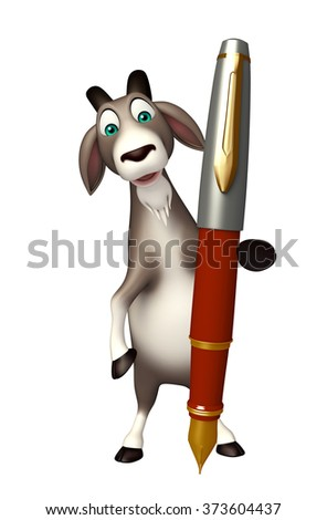 3d rendered illustration of Goat cartoon character with pen