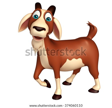 3d rendered illustration of Goat funny cartoon character