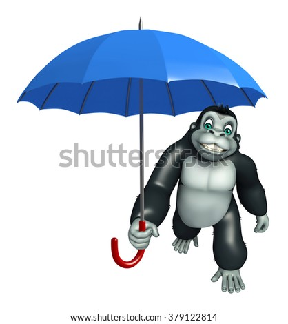 3d rendered illustration of Gorilla cartoon character with umbrella