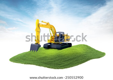 3d rendered illustration of heavy excavator machine floating in the air on sky background - stock photo