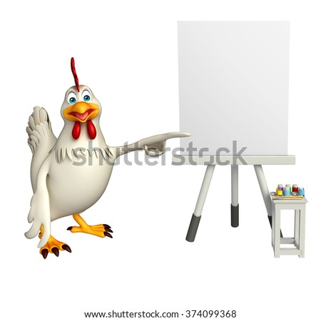 3d rendered illustration of  Hen cartoon character with easel board  - stock photo