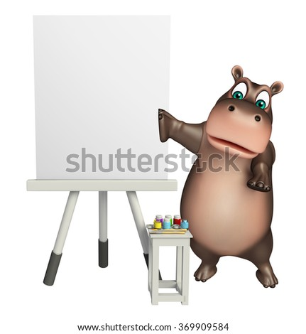 3d rendered illustration of Hippo cartoon character with easel board - stock photo