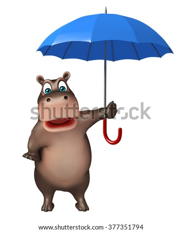 3d rendered illustration of Hippo cartoon character with umbrella