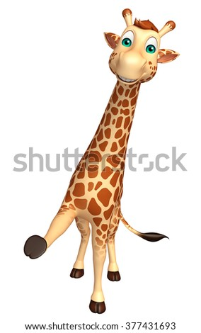 3d rendered illustration of hold Giraffe cartoon character