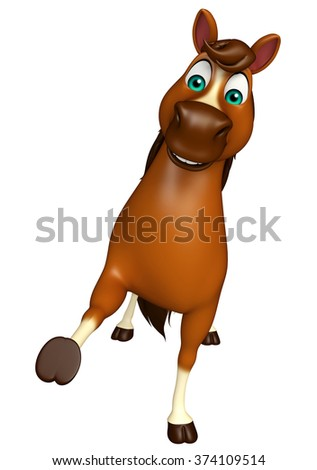 3d rendered illustration of hold Horse cartoon character