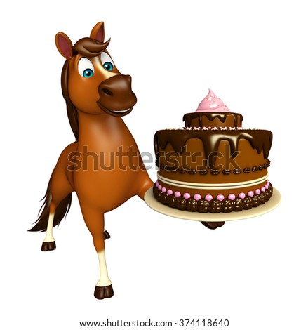 3d rendered illustration of Horse cartoon character with cake   - stock photo