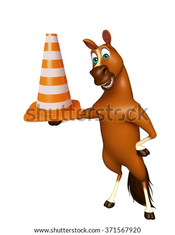 3d rendered illustration of Horse cartoon character with construction cone  - stock photo