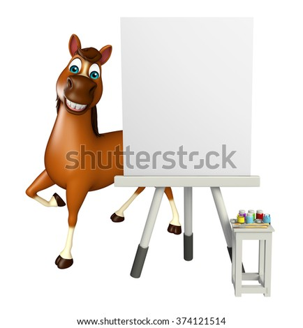 3d rendered illustration of Horse cartoon character with easel board  - stock photo