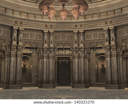 3D rendered illustration of interior ancient persian court hall - stock photo