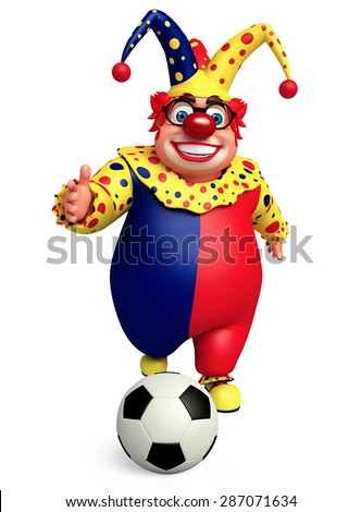 3d rendered illustration of joker with football