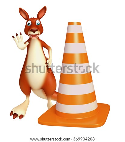3d rendered illustration of Kangaroo cartoon character with construction cone    - stock photo