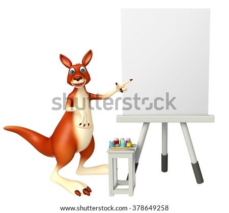 3d rendered illustration of Kangaroo cartoon character with easel board   - stock photo