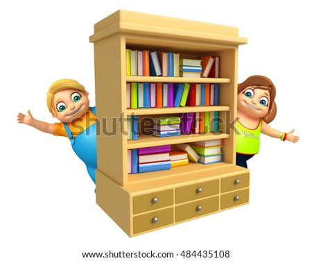 3d rendered illustration of Kid boy and Kid girl with book shelves