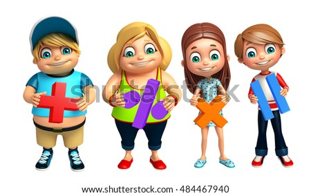 3d rendered illustration of Kid boy and Kid girl with Math sign