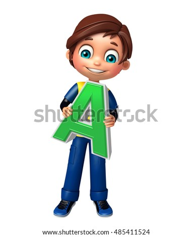 3d rendered illustration of kid boy with A alphabet
