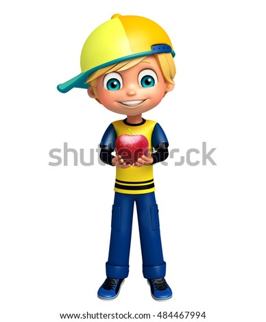 3d rendered illustration of kid boy with apple