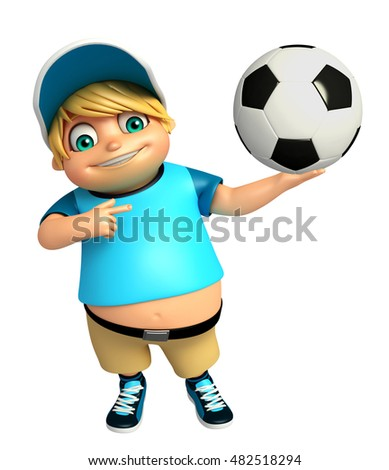3d rendered illustration of kid boy with Football