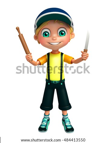 3d rendered illustration of kid boy with Kichen equipment