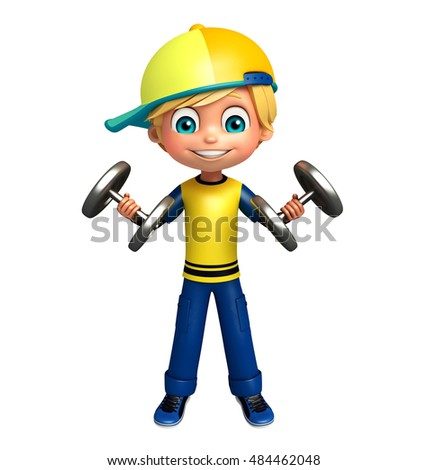 3d rendered illustration of kid boy with weight