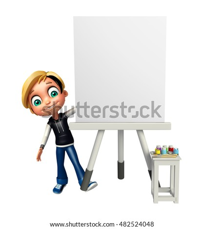 3d rendered illustration of kid boy with White board