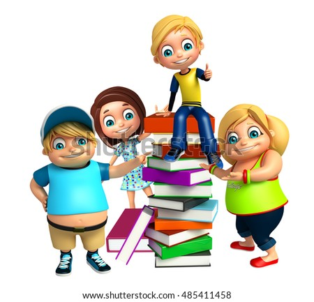 3d rendered illustration of kid girl and kid boy with Book stack