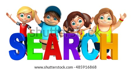 3d rendered illustration of kid girl and kid boy with Search sign