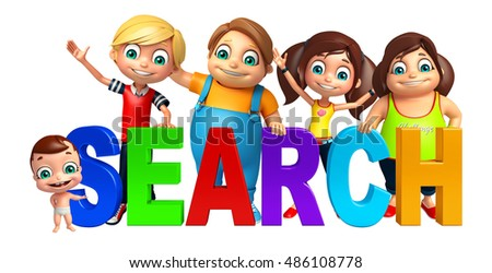 3d rendered illustration of kid girl, kid boy and cute baby with Search sign
