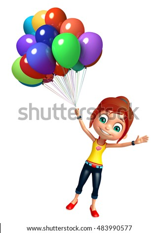 3d rendered illustration of kid girl with Balloon