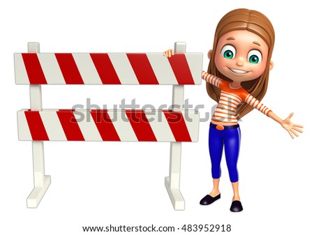 3d rendered illustration of kid girl with Bargets