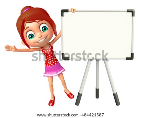 3d rendered illustration of kid girl with Display board