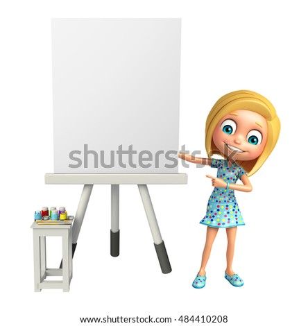 3d rendered illustration of kid girl with White board