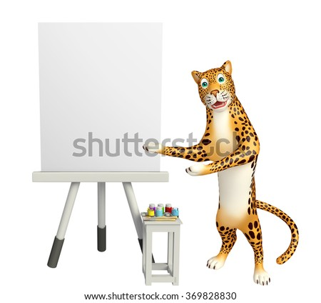 3d rendered illustration of Leopard cartoon character with easel board - stock photo