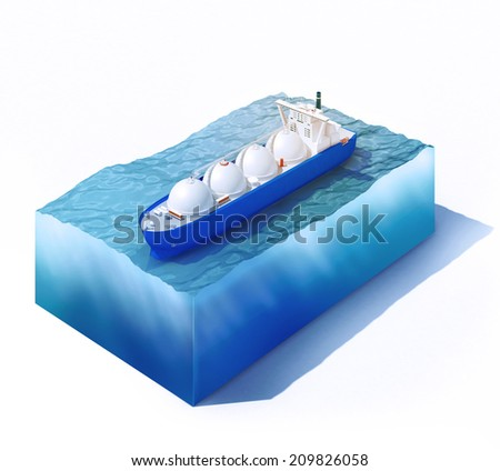 3d rendered illustration of liquid natural gas tanker on part of ocean isolated on white - stock photo