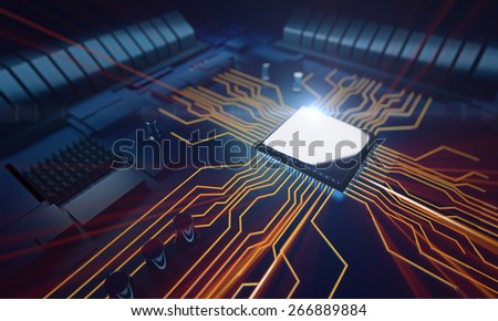 3d rendered illustration of macro view central processor unit on mainboard with shine lines - stock photo
