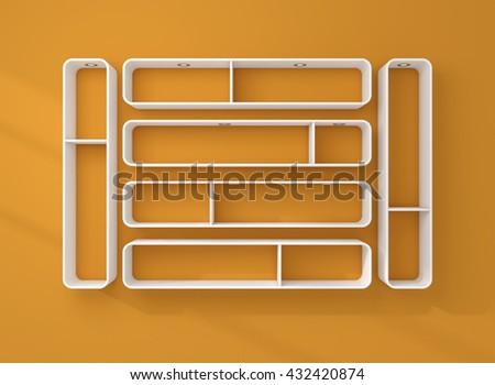 3d rendered illustration of modern empty bookshelves. - stock photo